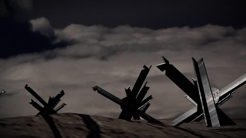 Beach of Normandy, ww2 antitank barricades. - HD stock video clip