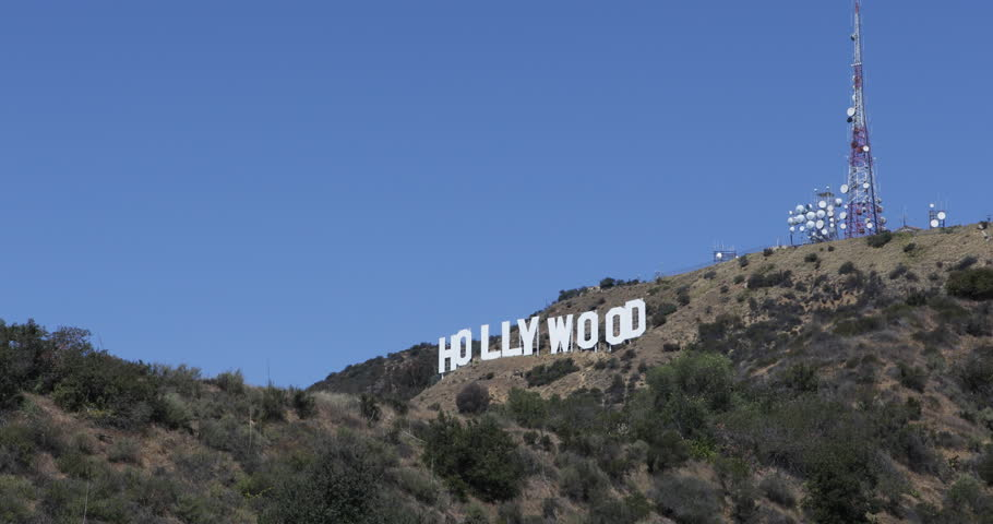 HOLLYWOOD, LOS ANGELES, USA - APRIL 3, 2013 Aerial View of Entertainment Symbol Holywood Sign Los Angeles Hills LA USA Sunny Day ( Ultra High Definition, Ultra HD, UHD, 4K, 2160P, 4096x2160 )