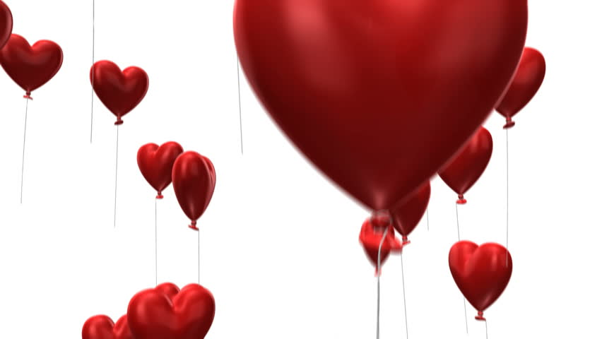 3d animation of heart-shaped balloons flying up - loopable from fram 131 to 260