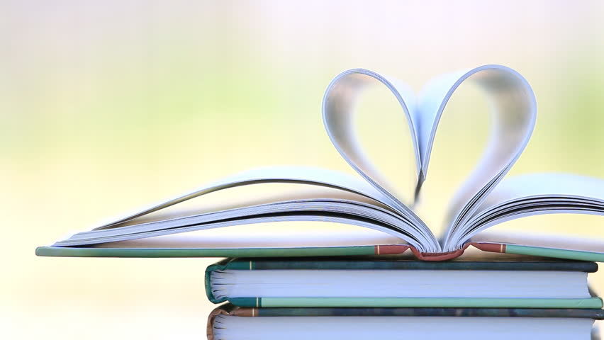 Book Stack Open Page Heart Shape In Wind Green Garden