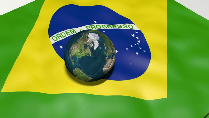 Brazilian Flag with rotating Earth Football and locations of World Cup hosting cities transition