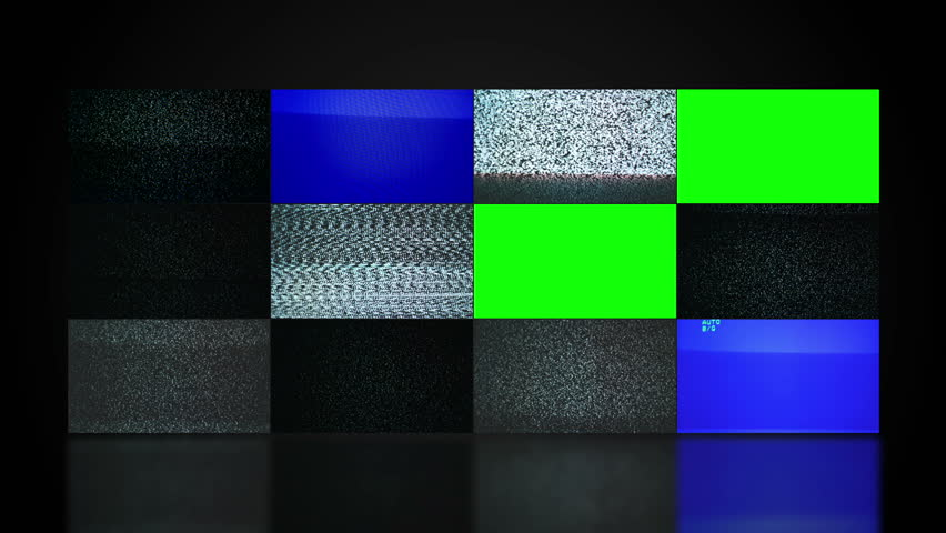 TV video wall with twelve television screen displaying noise and changing to green screen mate. 1920x1080 full hd footage. - HD stock video clip
