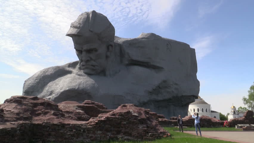 "BREST, BELARUS - MAY 2: The ""Courage"" monument at the Brest Fortress on MAY 2, 2014 in Brest, Belarus. - HD stock footage clip"