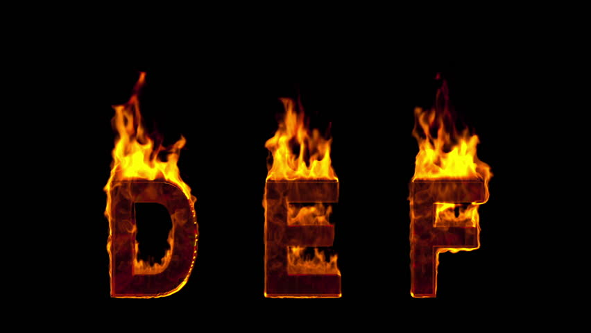 fire D E F letters isolated on black background. Alpha-channel included