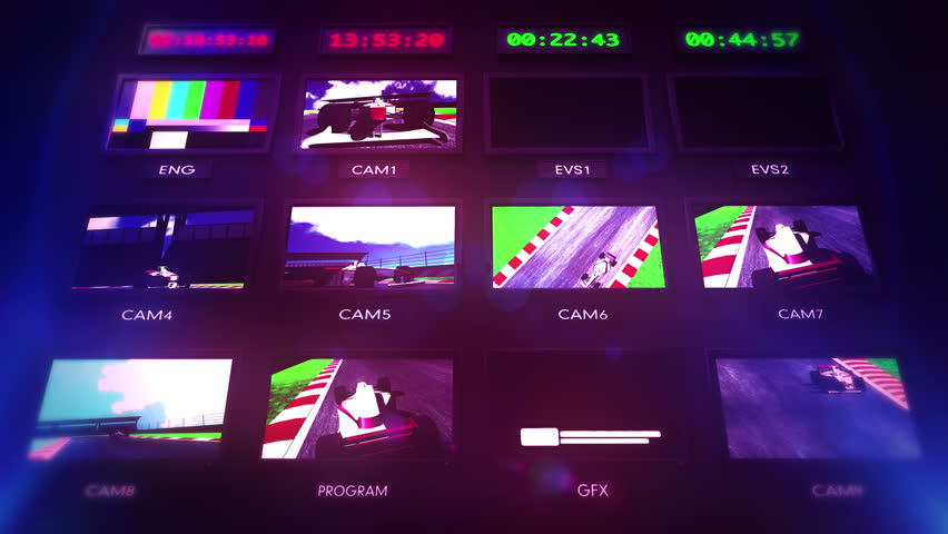 4K Television Broadcast Directing Room Interior Formula 1 Race On Air 3D animation 4K  4096 x 2304