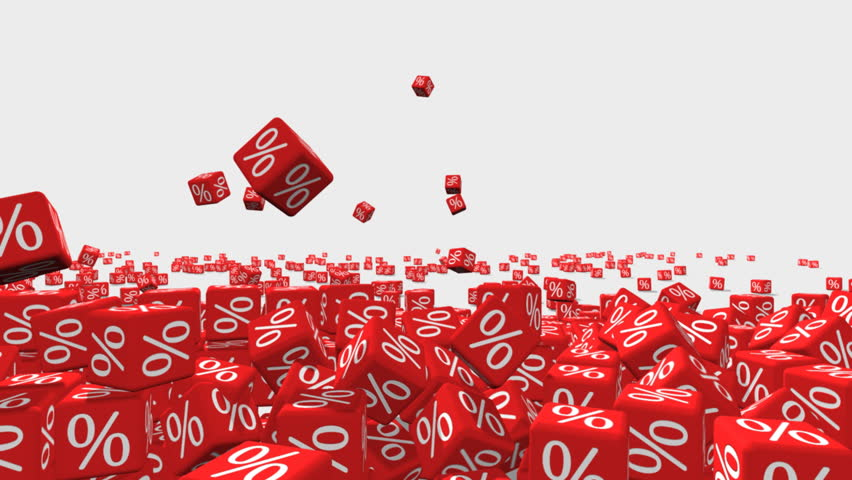 Symbols of percent on falling red cubes