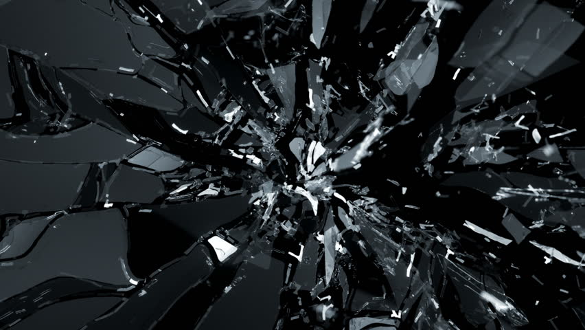 Shattered glass with slow motion. Alpha