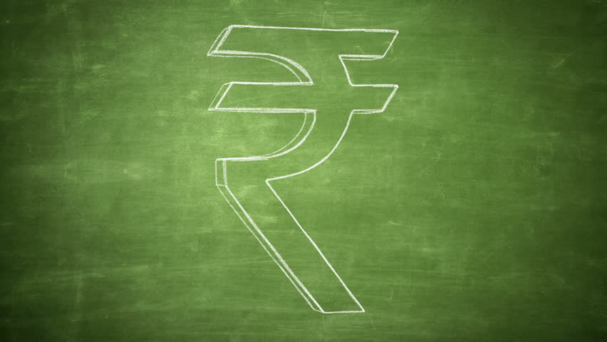Hand drawn rupee sign spinning on the chalkboard. Seamless looped animation. - HD stock footage clip