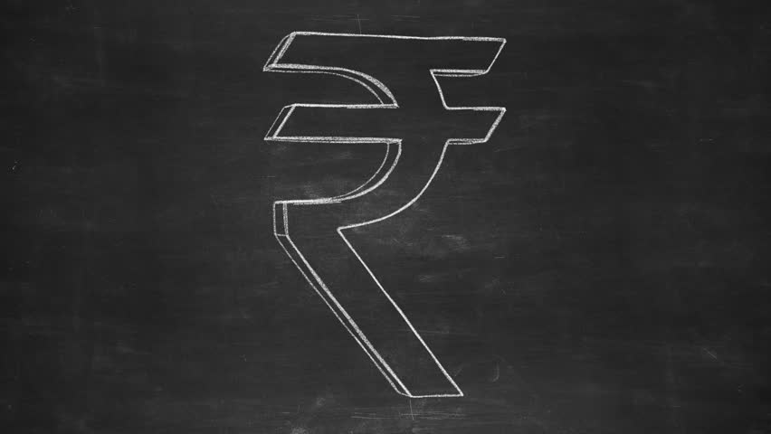 Hand drawn rupee sign spinning on the chalkboard. Seamless looped animation. - HD stock video clip