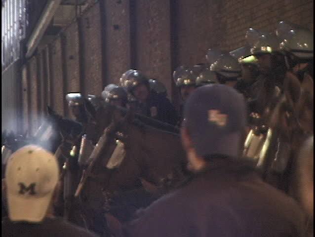 Riot Police on Horseback 1 - SD stock video clip