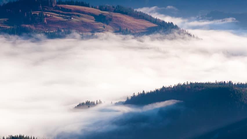 Time lapse clip. Fantastic mountain landscape with fog. Carpathian, Ukraine, Europe. Beauty world. Full HD video (High Definition)