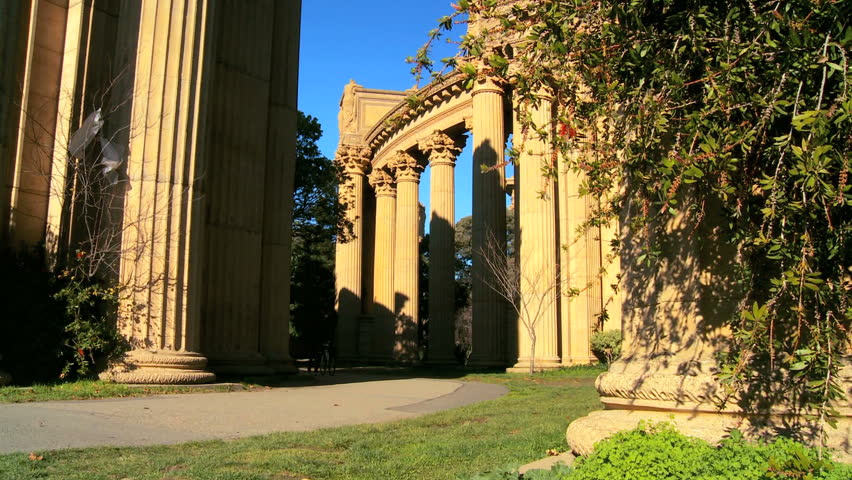 Columns & architecture of Palace of Fine Arts in San Francisco - HD stock video clip