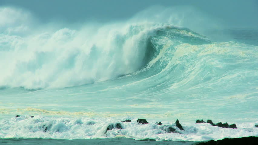 Awesome power of giant waves breaking over dangerous rocks 60 FPS