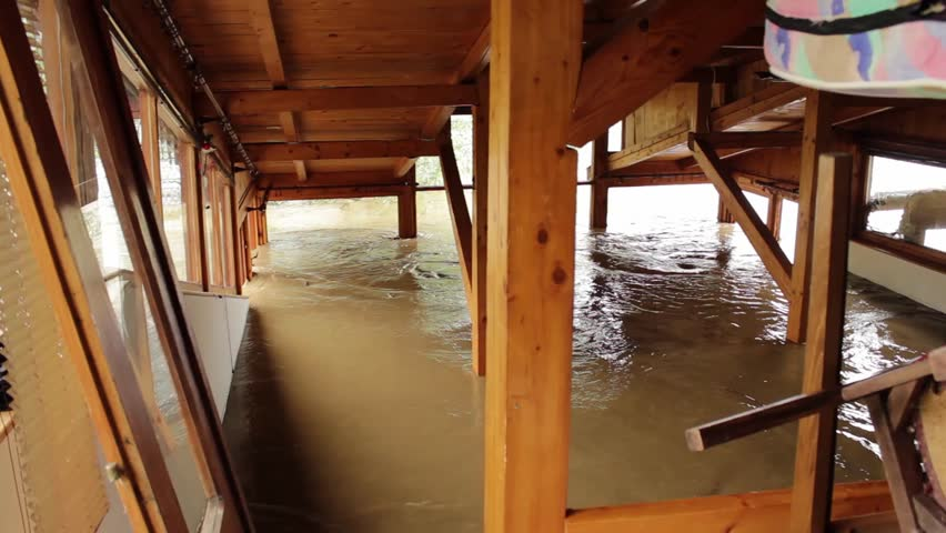 Flooded House,river Flowing Through The Building,tracking ...