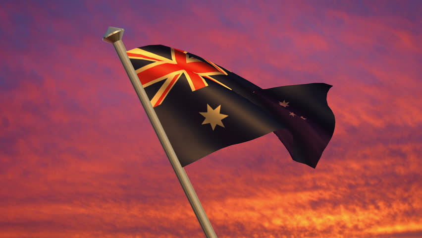 Looping Australian Flag animation with sky background