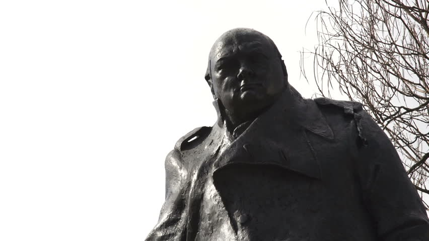 LONDON, CIRCA MARCH 2014 - GVs of statue of Sir Winston Churchill, Prime Minister of the United Kingdom from 1940-45 and 1951-55. Widely regarded as one of the greatest wartime leaders.
