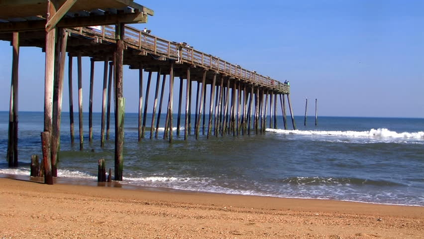 Fishing pier in outer banks north carolina stock footage for Carolina beach fishing pier