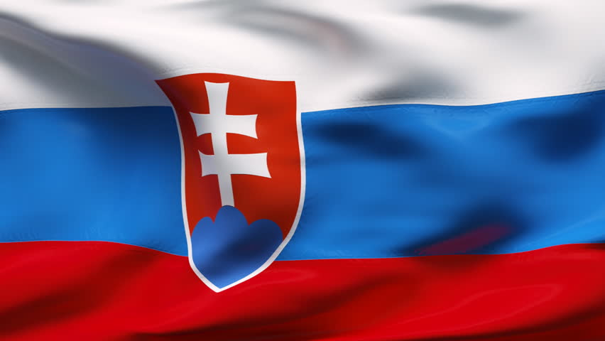 Creased slovakia cotton flag with visible wrinkle and seams - HD stock video clip