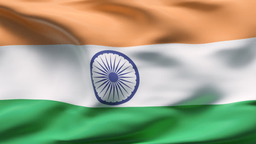 Creased indian cotton flag with visible wrinkle and seams - HD stock video clip