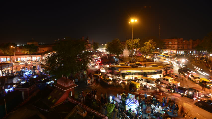 Time lapse of busy roundabout in Jaipur, India.