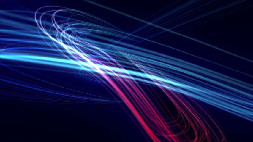 Loops from 14 seconds onwards. Background animation of flowing streaks of light. Abstract blue and red lines on dark background. In 4K ultra HD.