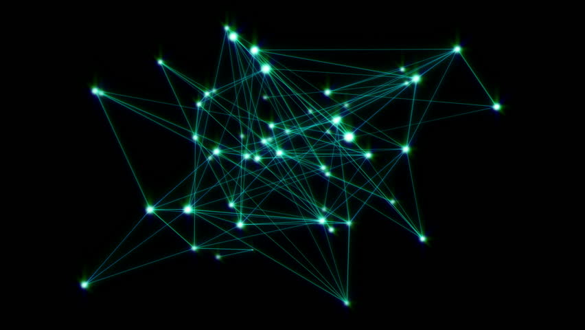 Animation of a growing network of connected lines and dots. Abstract communications, technology, computer networks, internet, social media, business growth concepts etc. In 4K ultra HD.