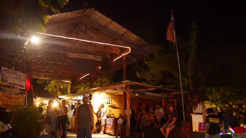 Kalapana, Hawaii - May, 2014 - Wide shot of the entrance of a night market.