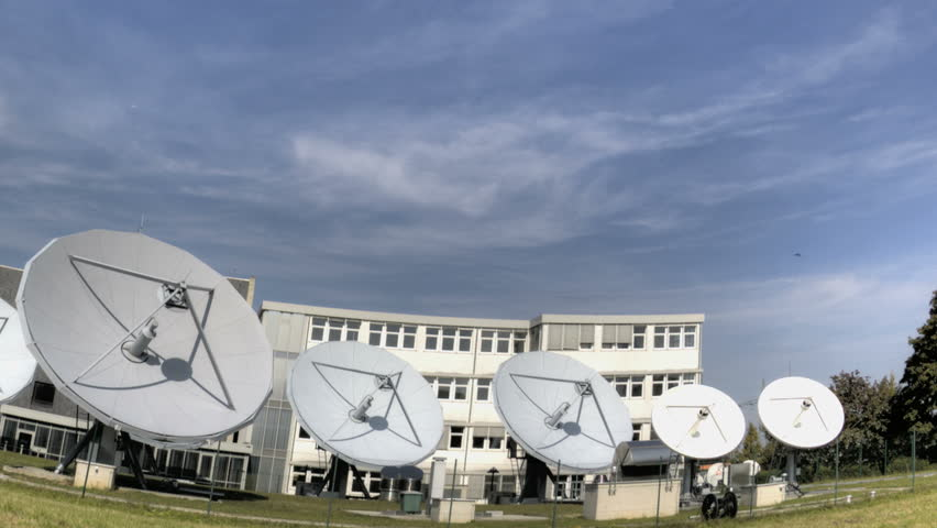 Time lapse of big communication satellite dishes - HD stock footage clip