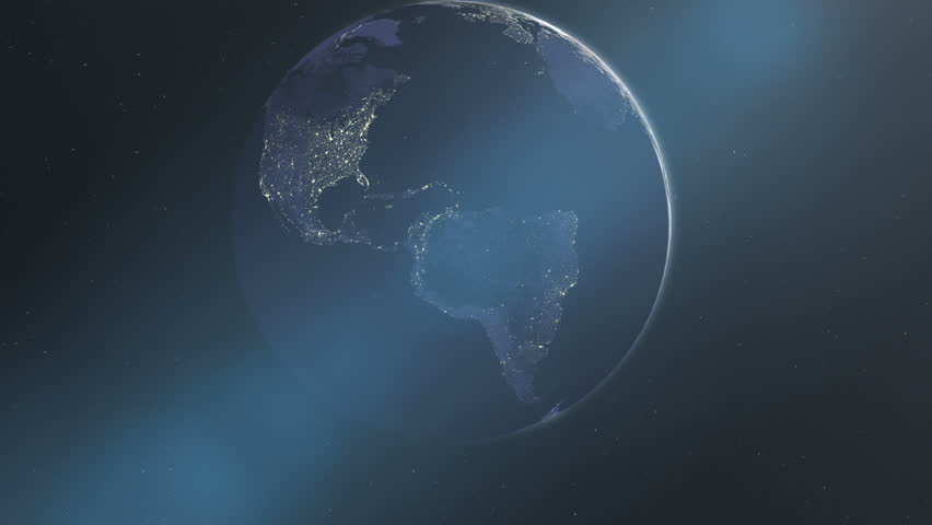 Night Lights of the Americas (60fps). The North and South American continents on the dark side of the Earth, illuminated by the glowing city lights of civilization, rotate towards the rising sun.