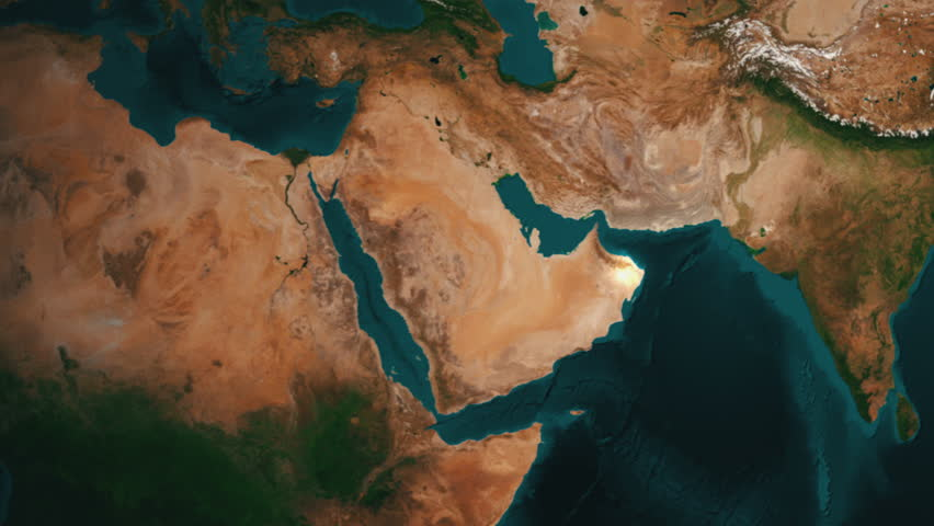 Earth Zoom to the Middle East. Longer Version. 4K Broadcast quality animation. Rendered at 32-bit float depth.