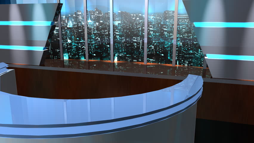 Virtual TV Studio Set animated in 3d with an animated 3d monitor that swings into the scene