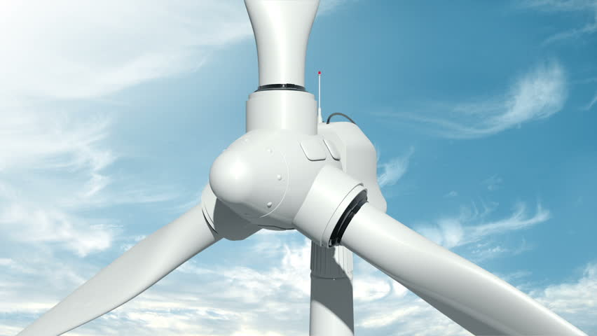 Animation of rotation windmill turbines. Clean energy of wind. Wind power generators on sky background with green tree. Animation of seamless loop.  - HD stock footage clip