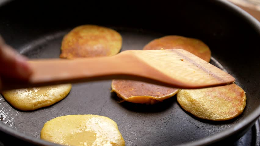 Making of Home Made Pancakes on Frying Pan. Turning over Flapjacks. HD, 1920x1080.