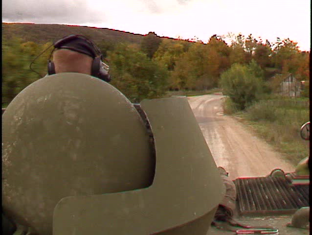 patrol, two M113 Armoured personel carriers (BetacamSP) - SD stock video clip