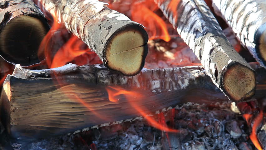 Closeup of warm fire burning in a campfire - HD stock footage clip