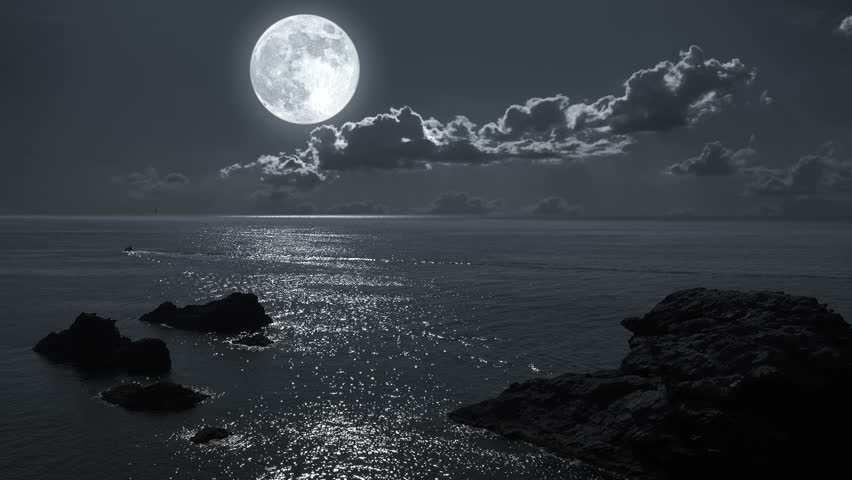Tropical Waves Sky Mountains Clouds Island Moon Night: Full Moon Night Landscape, Seascape With Rocky Sea Shore