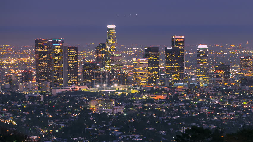 Day to Night Sunset Timelapse Los Angeles Skyscrapers and City Pan