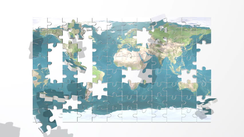 Earth puzzle flat
