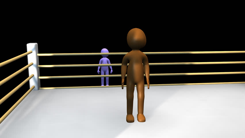 3D men fighting on a boxing ring in HD  - HD stock video clip