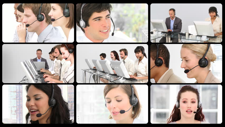 Montage of service customer agents at work in HD  - HD stock footage clip