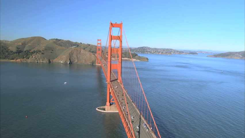 Aerial view flying over Golden Gate Bridge, San Francisco, USA - HD stock video clip