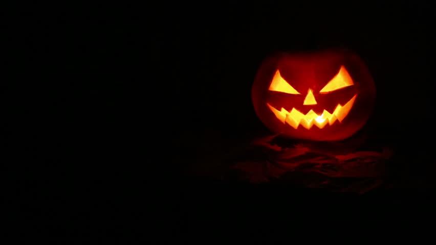 Halloween Pumpkin At Night Stock Footage Video 7418611 ...