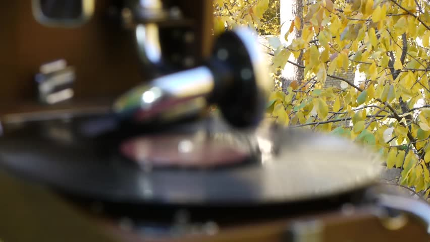 Stock Video Footage Lonely gramophone autumn outdoors