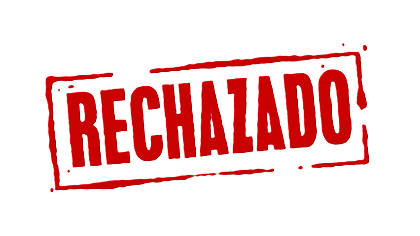 Red rubber stamp animation of the word rejected in spanish with white background, black background, and alpha channel.
