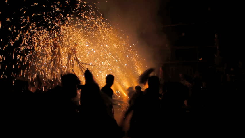 Annual festival in Omiya Isuzu Shrine in Komagane city, Japan. Dedication of pipe fireworks called large Mikuni is carried out in September and parishioners protect tradition and succeed every year.