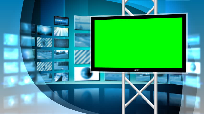 Multiple monitors play in a seamless loop in this Network news style virtual studio background. Out of focus televisions play in the background.