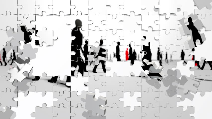 People walking silhouettes with red leader puzzle