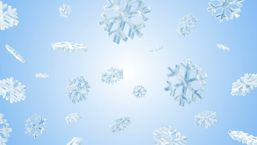 Icy Snowflakes Falling on Blue Background. HQ Seamless Looping Animation