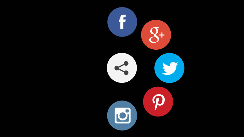 Editorial animation: Social networks animated icons with Alpha-Channel 1920x1080