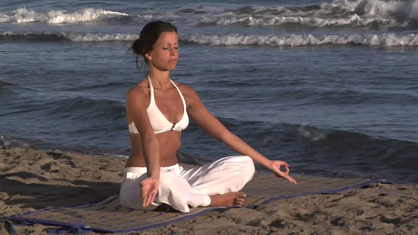 spiritualism on the beach - HD stock video clip